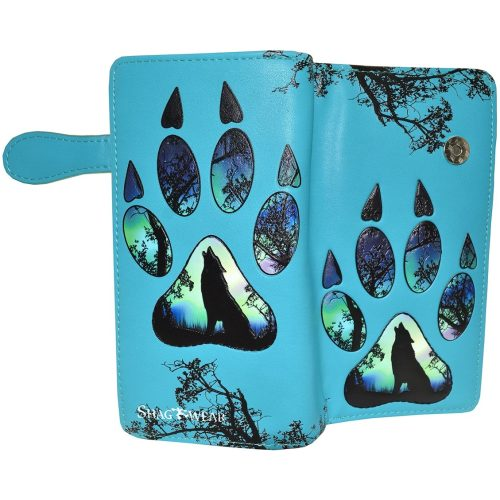 WOLF PAW PRINTLARGE/TEAL COLOR/WITH ZIPPER...